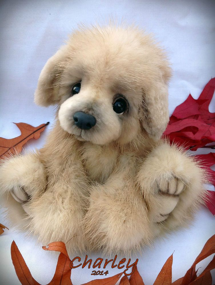 Real Mink Fur Golden Retriever Puppy Pup Dog By Teddy Bear Artist