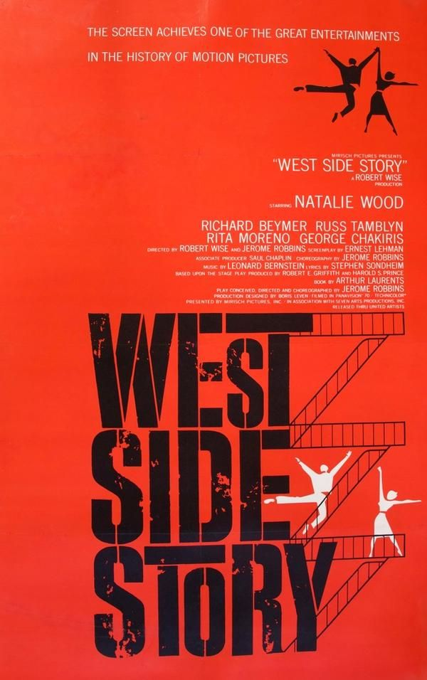 West Side Story (1961) is part of West side story movie, Classic movie posters, Movie posters vintage, West side story, Saul bass, West side story 1961 - This is an original, onesheet movie poster from 1961 for West Side Story starring Natalie Wood, Richard Beymer, Russ Tamblyn, Rita Moreno and George Chakiris  Robert Wise and Jerome Robbins directed the classic musical  Joseph Caroff is the artist for the poster (frequently misattributed to Saul Bass)  This preawards poster is from the initial theatrical release of the film in 1961  After the film won several Academy Awards, the studio printed additional posters advertising the awards in 1962  This preawards poster is far more rare than the posters printed after the Oscars  The poster measures 27  x 41  and has been linenbacked for longterm preservation and display  The poster was in good to very good condition prior to linenbacking with a few minor surface smudges and a tear in the lowerleft of the poster that extended to the S in Story  This tear was repaired during the linenbacking process  It was folded at the time of printing but the folds are much less noticeable after linenbacking  The poster is stored flat and it will be rolled for shipping in a rigid, tube mailer  Please look closely at the photo (this is the exact poster you are buying)  It is not cropped or a stock image  The black squares in the corners of the poster are magnets and not pins  This rare and very collectible movie poster, printed in 1961 to promote the initial theatrical release of West Side Story, is not a reproduction or a reprint  CERTIFICATE OF AUTHENTICITY (COA) INCLUDED Year poster printed 1961 Country United StatesSize 27 in x 41 in (69 cm x 104 cm) (plus linen border)Artist Joseph Caroff