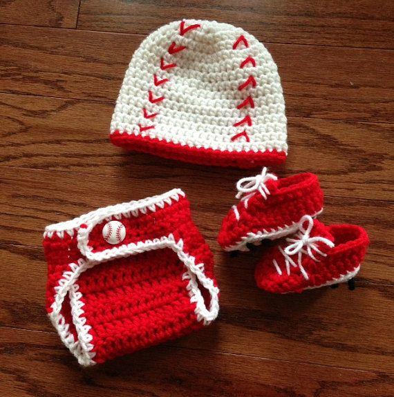 ea073900b Crochet baby boy newborn through 12 mos baseball outfit hat