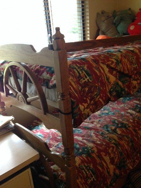 Vintage Wooden Western Wagon Wheel Bunk Bed + 2 Twin Cowboy Barkcloth Duvets