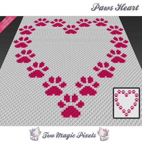 Paws Heart crochet blanket pattern; c2c, cross stitch; knitting ...