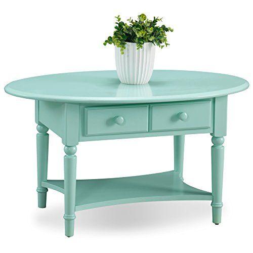 Leick BK Coastal Oval Coffee Table with Shelf