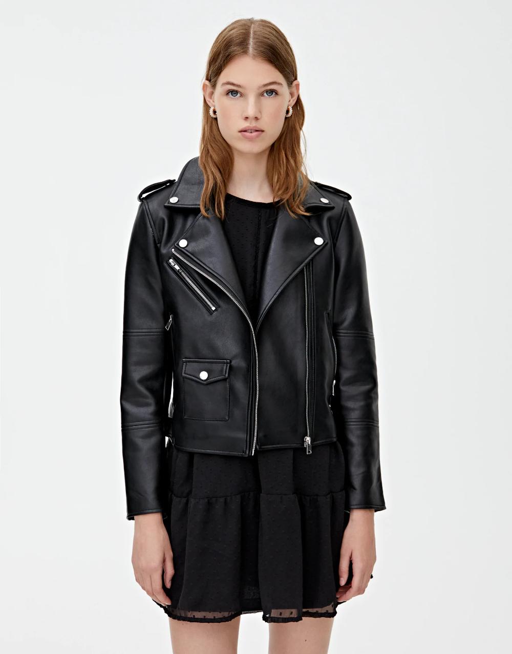 CAZADORA BIKER PU PLUS PULL&BEAR Black biker jacket