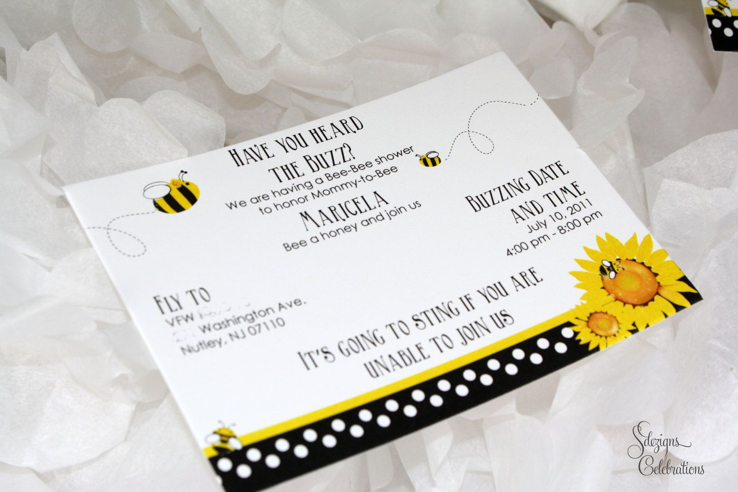 Bee and Sunflower Baby Shower Invitation by SDezigns on Etsy, $1.75 ...