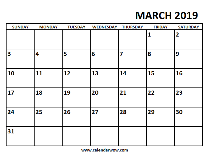 Free Printable March 2019 Calendar 2018 Calendar Pinterest