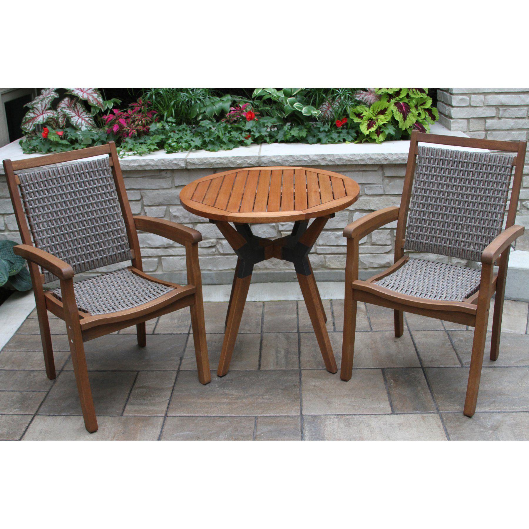Outdoor interiors round wicker piece outdoor bistro set outr