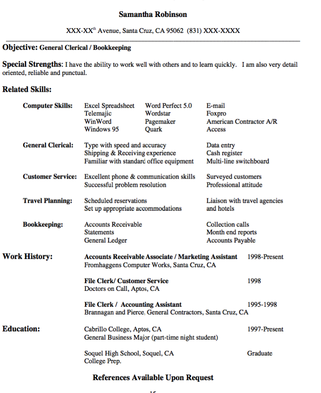 General Contractor Resume General Clerical Resume Sample  Httpexampleresumecv