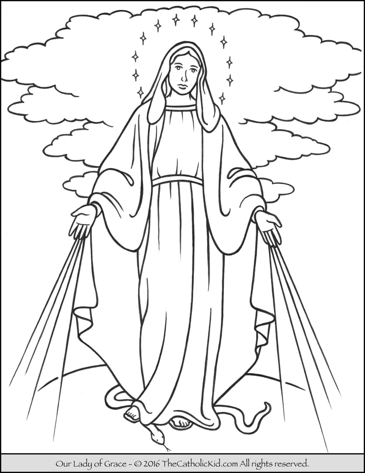 Our Lady Of Grace Coloring Page Mary Thecatholickid Com
