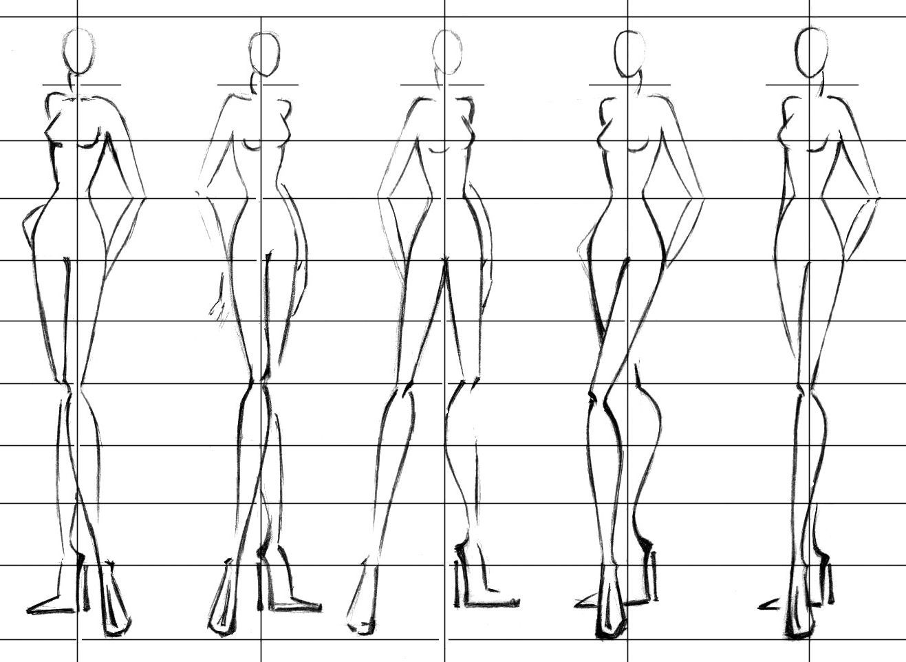 image about Printable Fashion Croquis referred to as 12 mind croquis - Google Glimpse Model Examples