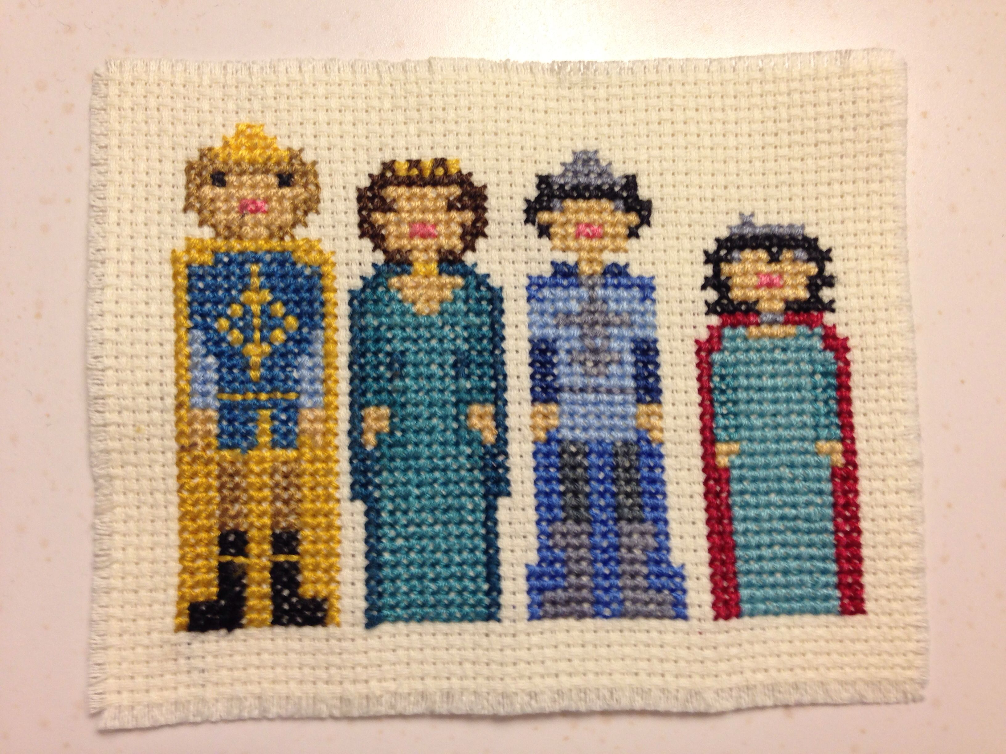Cross stitch of Peter Susan, Edmund, and Lucy from The