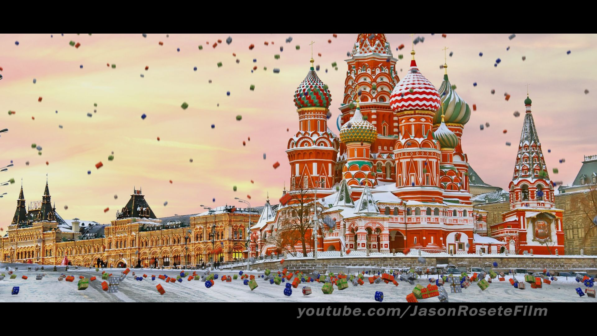 Falling Christmas presents in Moscow, Russia http//www