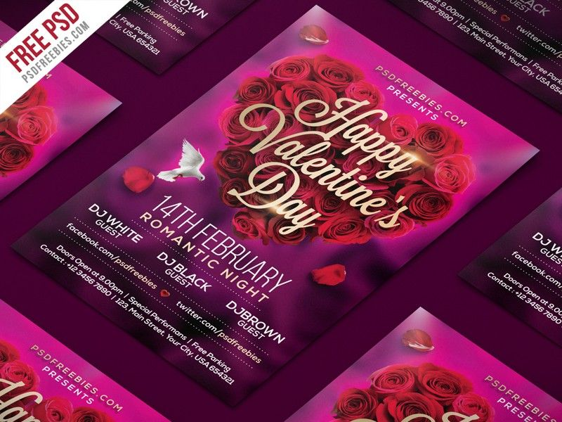 Valentines Day Download Free Flyer Psd Template Free Flyer
