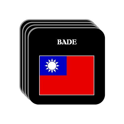 Taiwan - BADE Set of 4 Mini-Mousepad Coasters by Custom Image Factory. $9.99. Protect your furniture with this set of 4 mini-mousepad coasters.  Each coaster is 3.5 x 3.5 inches (width & lenght).  They are soft top made out of mousepad material (polyester surface, neoprene backing) and work well as coasters.