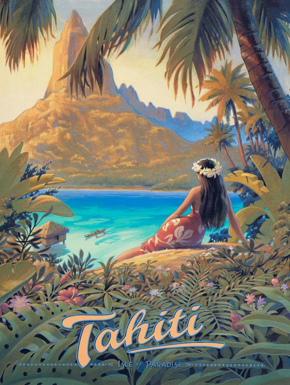 Kerne Erickson Vintage Poster Tahiti, Isle of Paradise