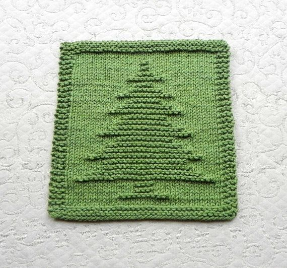 Christmas Tree Knit Dishcloth Hand Knitted Unique Design Sage Green