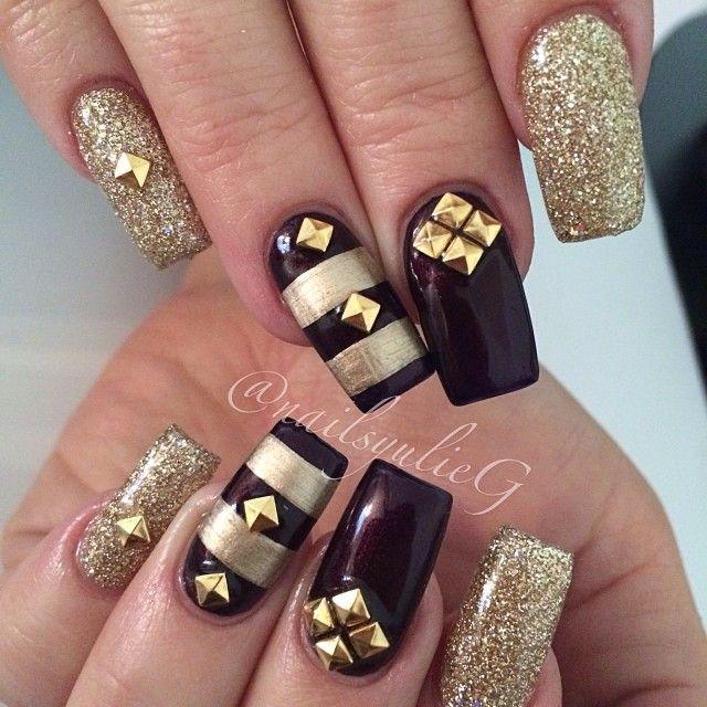 Burgundy and Gold Stud Square Nails @nailsyulieg | Nails ...