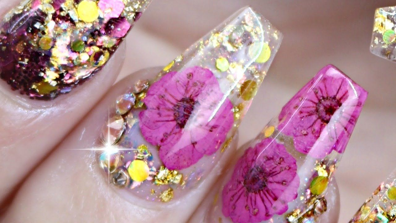 Dried flower nail tutorial youtube flower nails nail