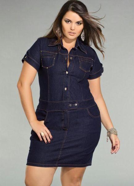 b496e470c Modelos de vestidos Jeans para gordinhas são sempre ótimas opções para o  verão. O jeans é um tecido normalmente utilizado em calças, mas para .