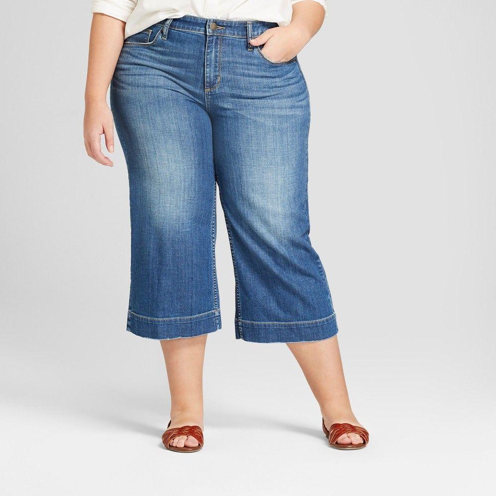 f06ae39f317 Women s Plus Size Wide Leg Crop Jeans - Universal Thread Medium Wash ...