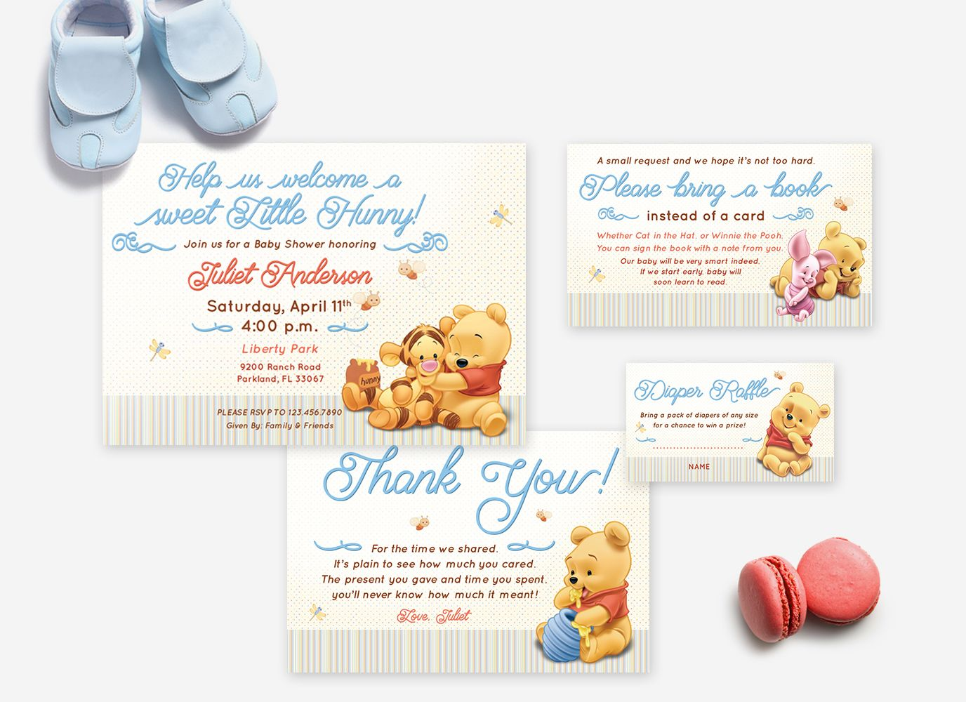 Winnie The Pooh Baby Shower Invitation Set Thank You Card Diaper