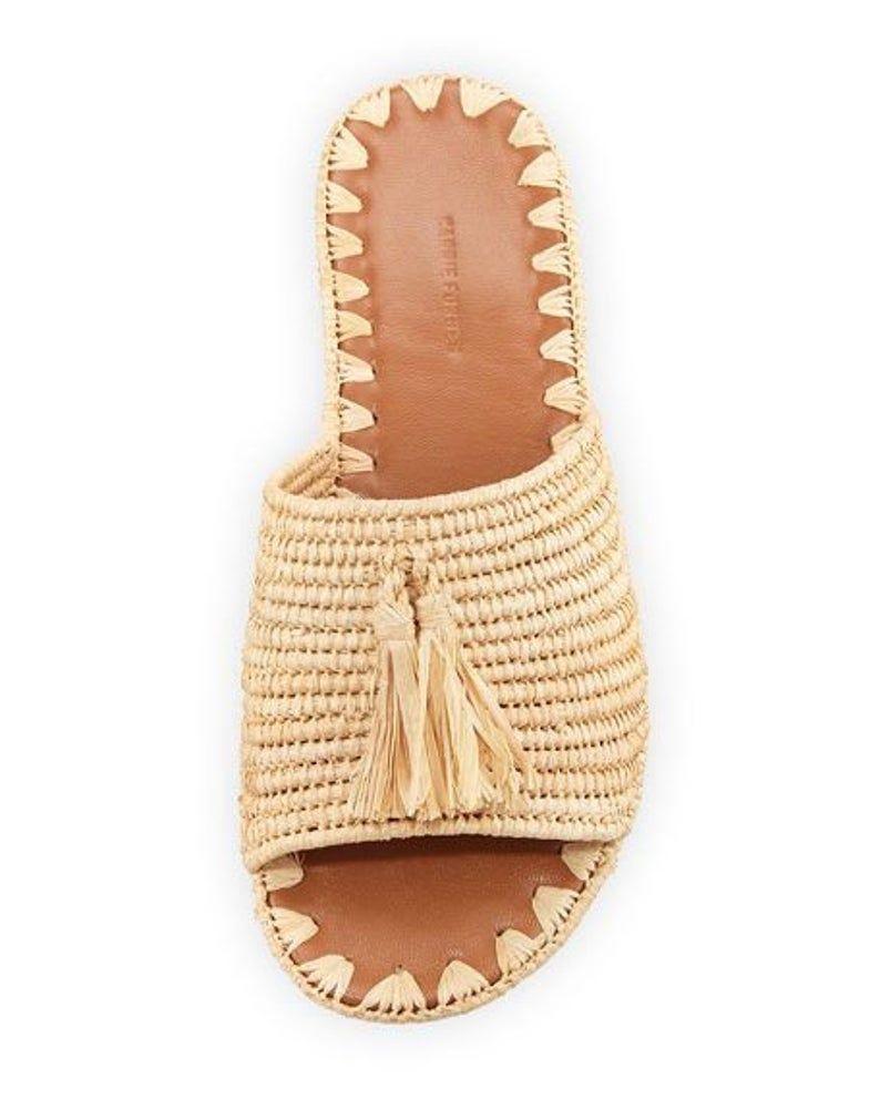 Moroccan Summer Woven Natural Tasselled Raffia Slides Women/'s Shoes