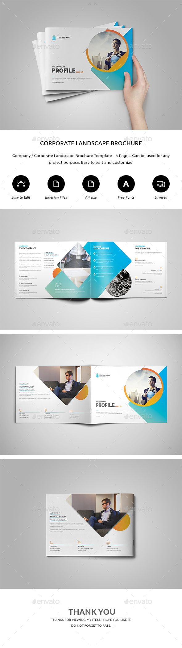 Brochure Templates For Pages | Company Corporate Landscape Brochure 4 Pages Brochures Print