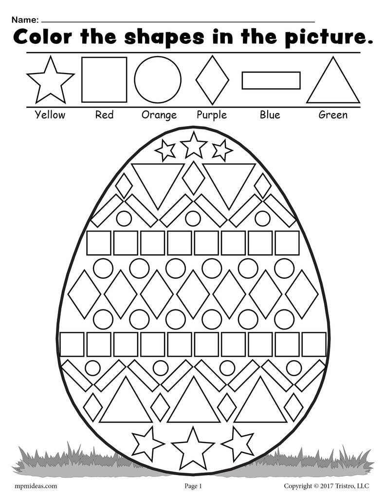 Easter Egg Shapes Worksheet Coloring Page Easter Kindergarten Easter Math Easter Worksheets