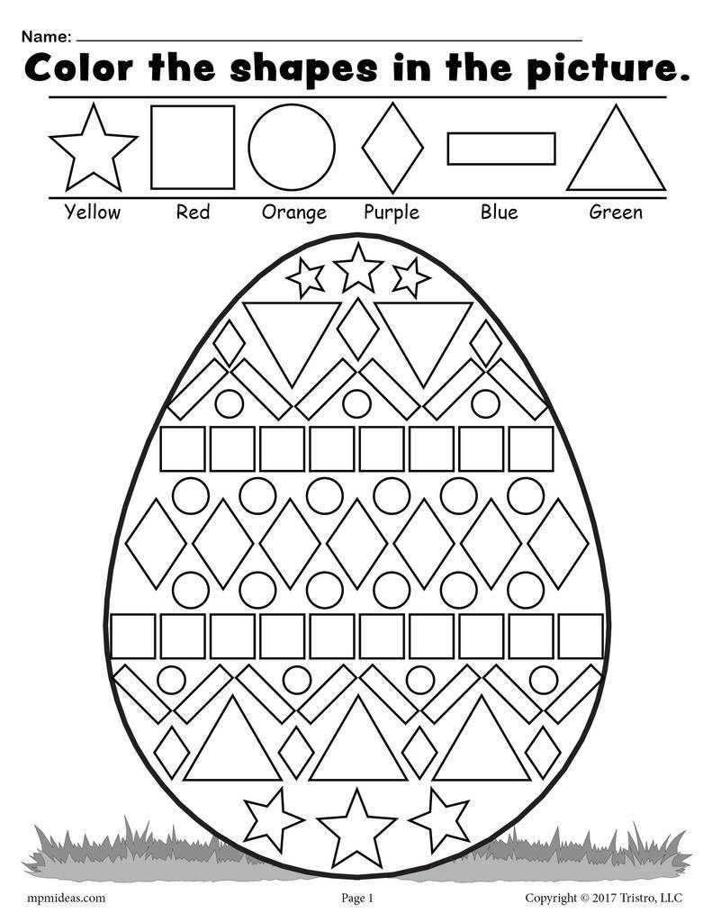 Easter Egg Shapes Worksheet Coloring Page Easter Worksheets Easter Math Easter Math Worksheets [ 1024 x 791 Pixel ]
