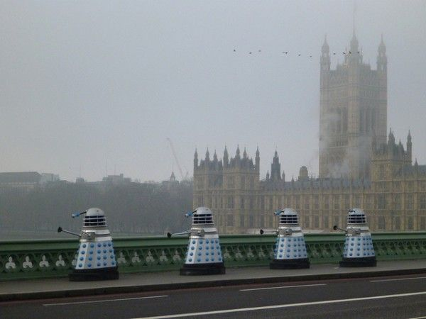 Just Another Morning On The Westminster Bridge With Daleks