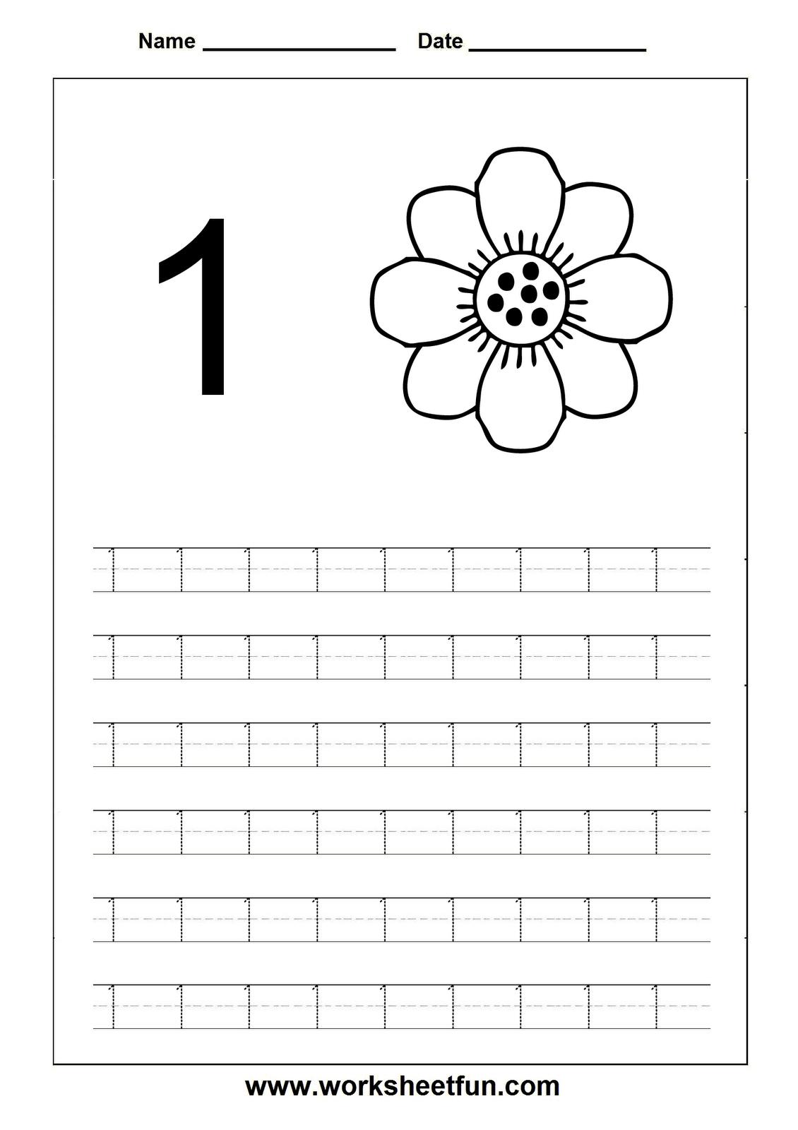 Number tracing worksheets for Kindergarten and Preschool. Website ...