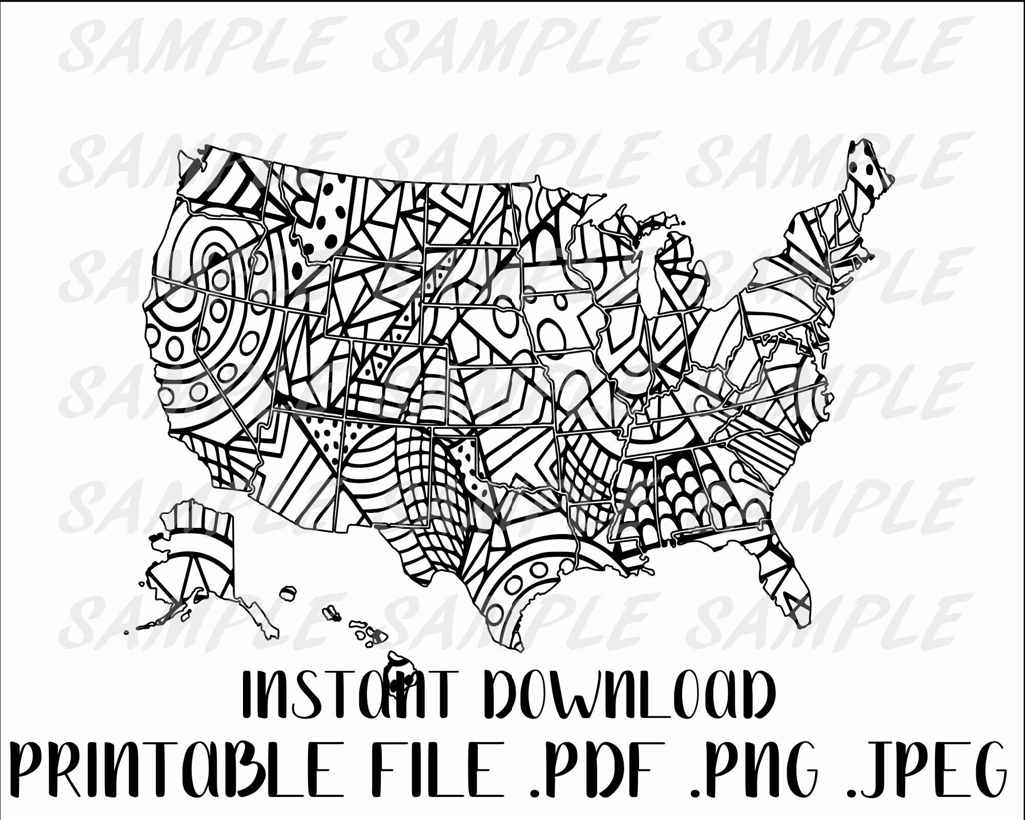 Coloring map, doodle map, USA coloring map, sales map, Etsy sales ...