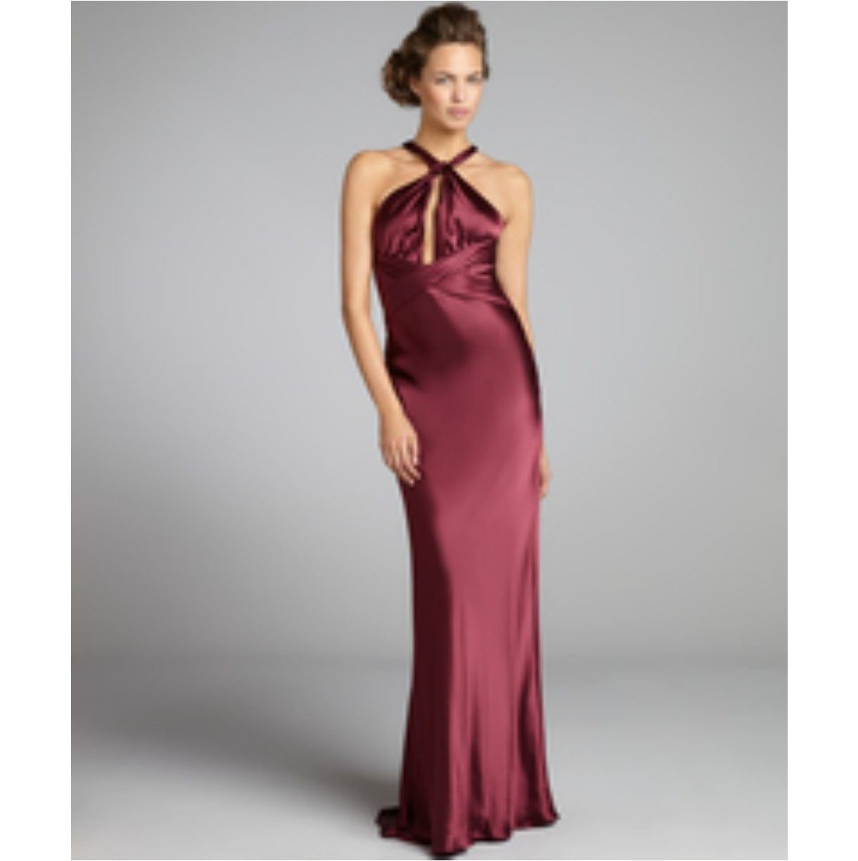 A.B.S. by Allen Schwartz bordeaux satin twisted halter gown ...