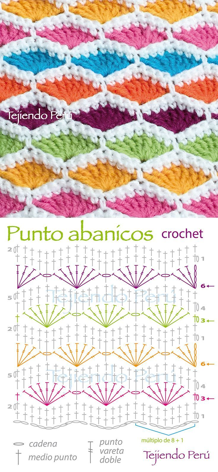 Crochet: punto abanicos de colores! ༺✿ƬⱤღ https://www.pinterest ...