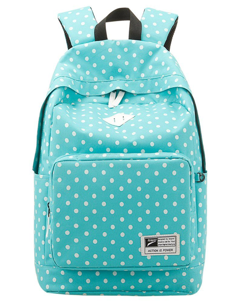 a59313e3987f Leaper Casual Style Polka Dots Laptop Backpack  School Bag  Travel Daypack   Handbag with Laptop Lining Light Blue
