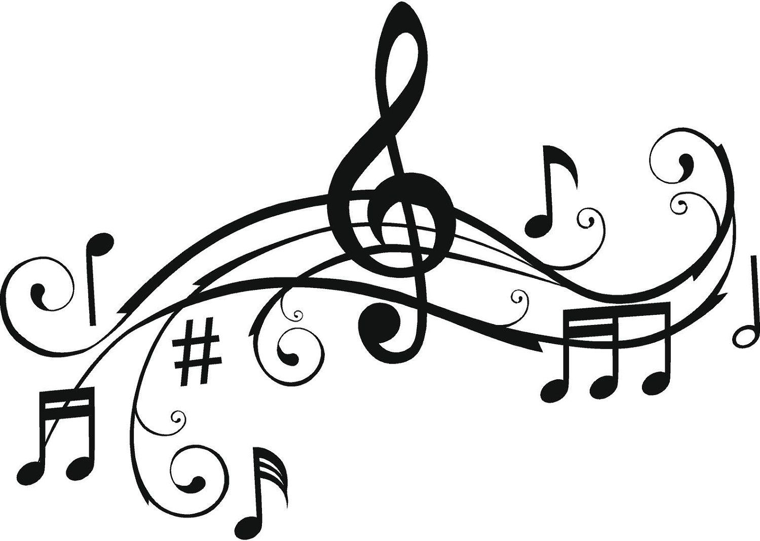 Music Staff Clipart Free Music Staff Art Clipart Best Music Notes Wall Art Music Coloring Music Notes