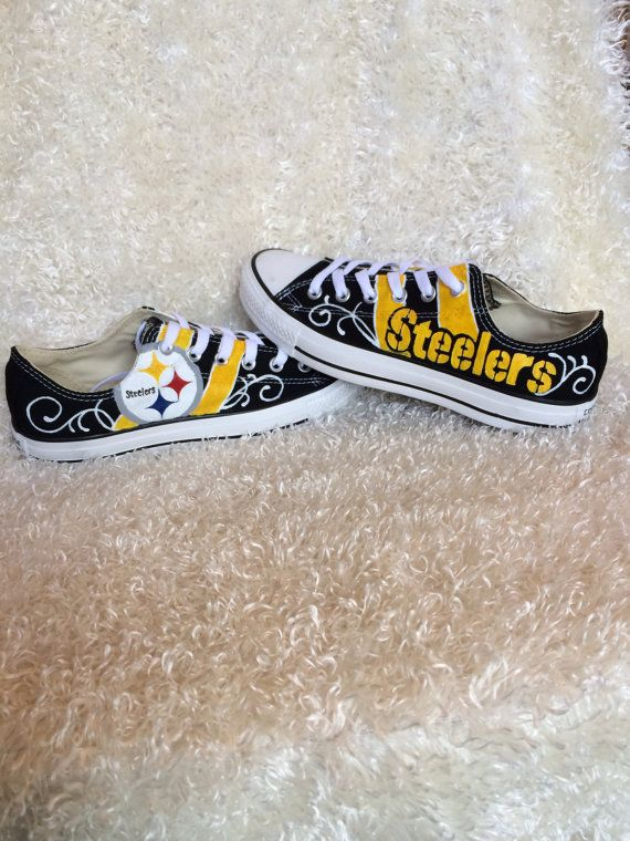 Custom painted Pittsburgh Steelers Converse Shoes by