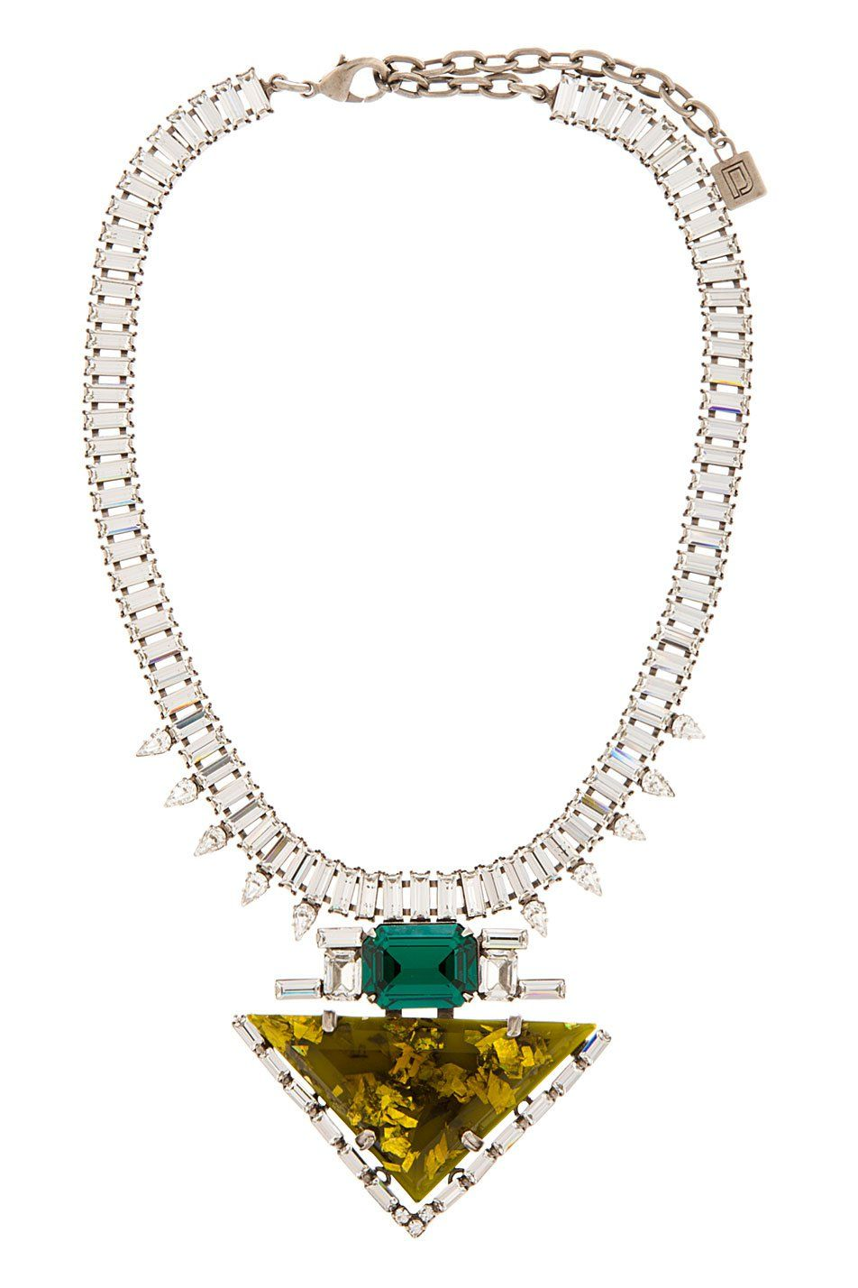Dannijo Chartreuse Resin And Crystal Elodie Necklace - on Vein - getvein.com