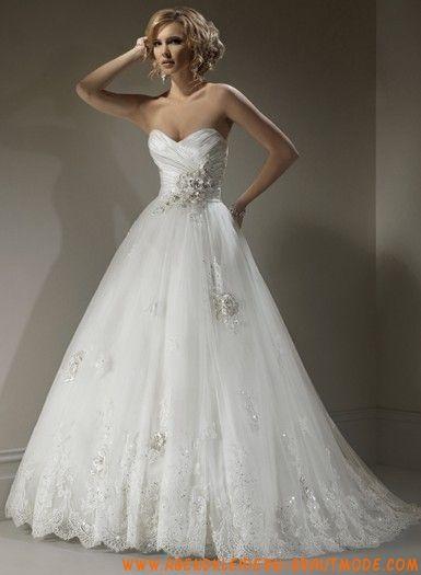 schöne Brautkleider aus Softnetz mit gerafftem Korsett und A-Linie ...