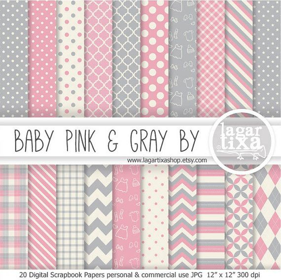 Pale Pink And Grey Gray Digital Paper Scrapbooking For Baby Shower