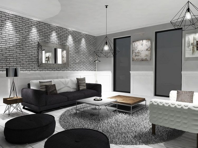 Https Deavita Fr Wp Content Uploads 2016 02 D C3 A9coration Noir Blanc Gris Salon C3 A9clectique Brique Grise Jpg Living Decoracion De Unas Rooms Decored