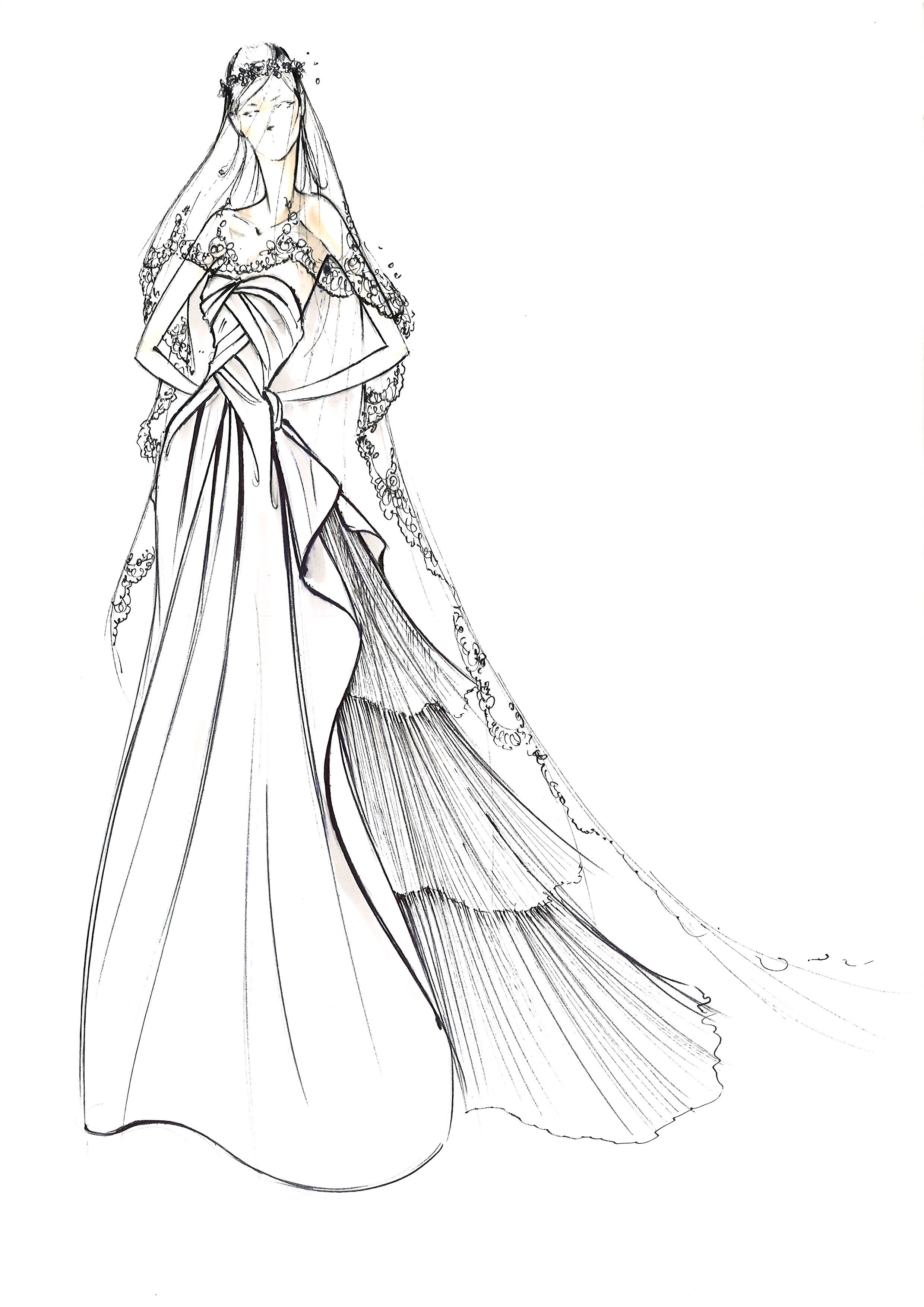 Sketch of the Nuvola dress from Alberta Ferretti Forever