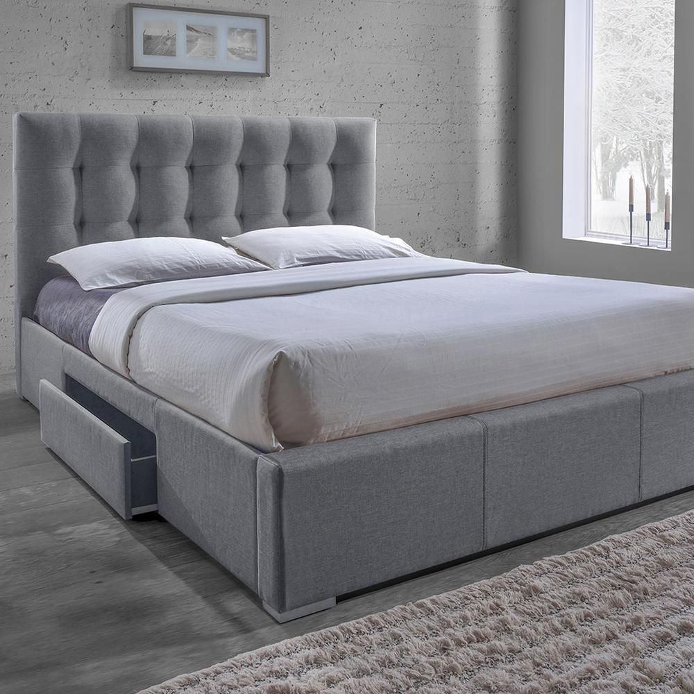 Best Baxton Studio Sarter Transitional Gray Fabric Upholstered 400 x 300