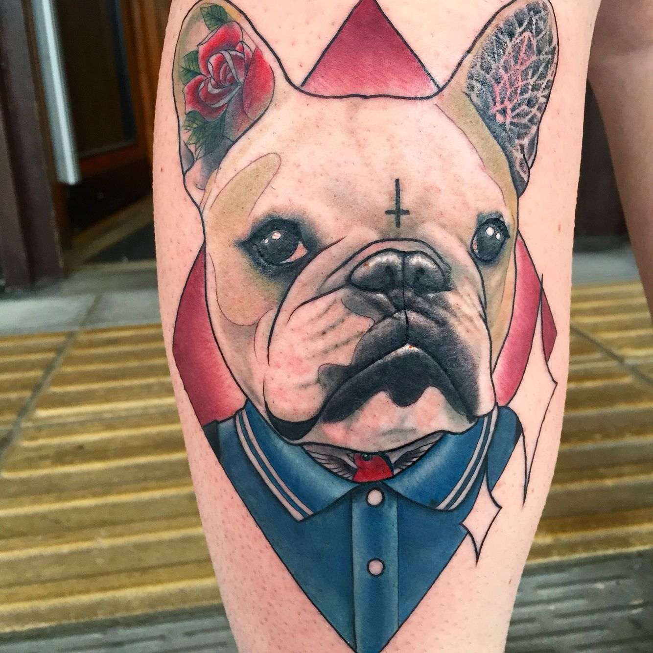 Neo Traditional Dog Portrait Tattoo By Sammysurjaytattoo Dog Portrait Tattoo Dog Tattoos Dog Tattoo