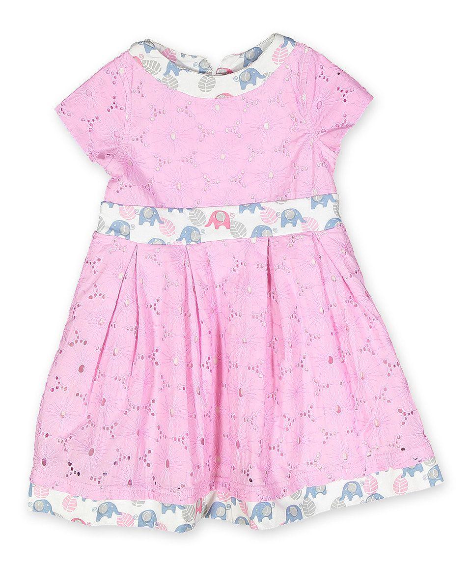 Begonia Pink Eyelet Elephant Trim A-Line Dress - Kids by Origany #zulily #zulilyfinds