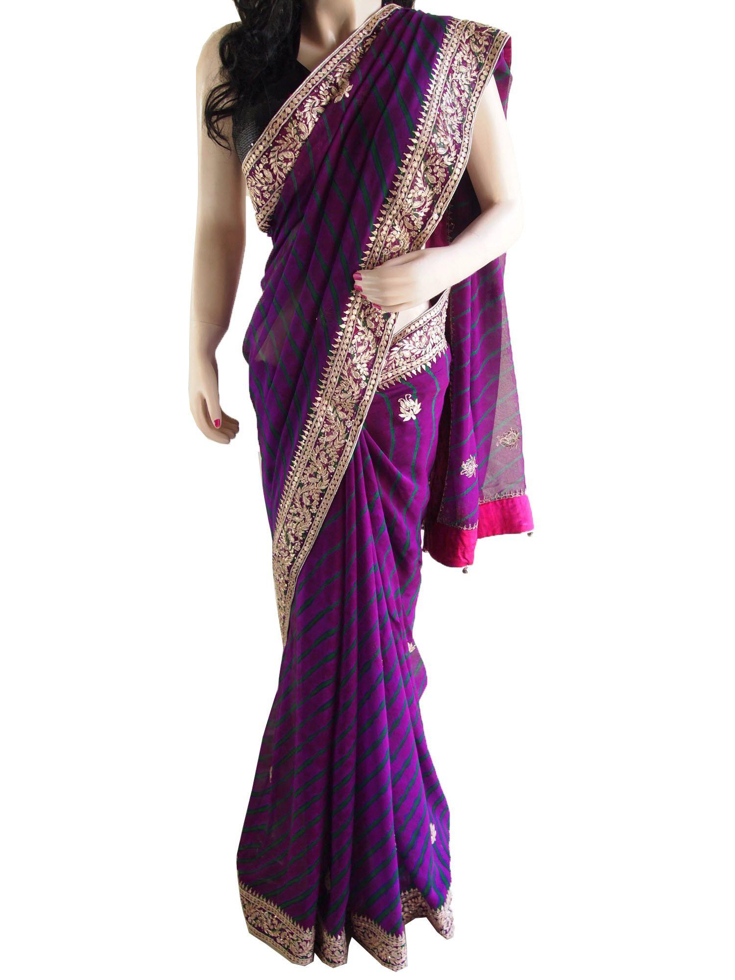 Purple Pure Chiffon Lehariya Saree With Gota Patti Border
