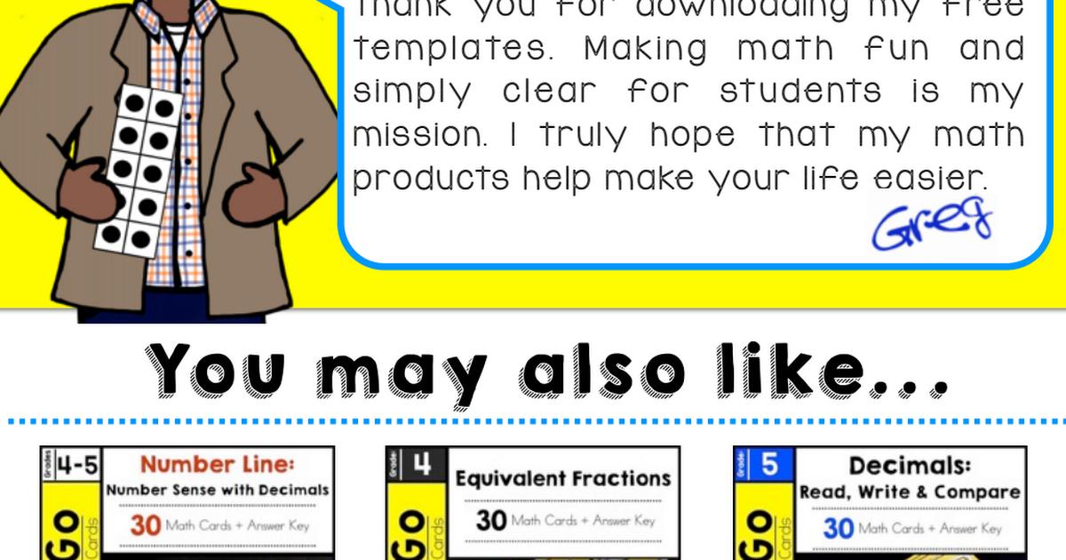 Number Line Template 4th & 5th.pdf Fun math, Education math