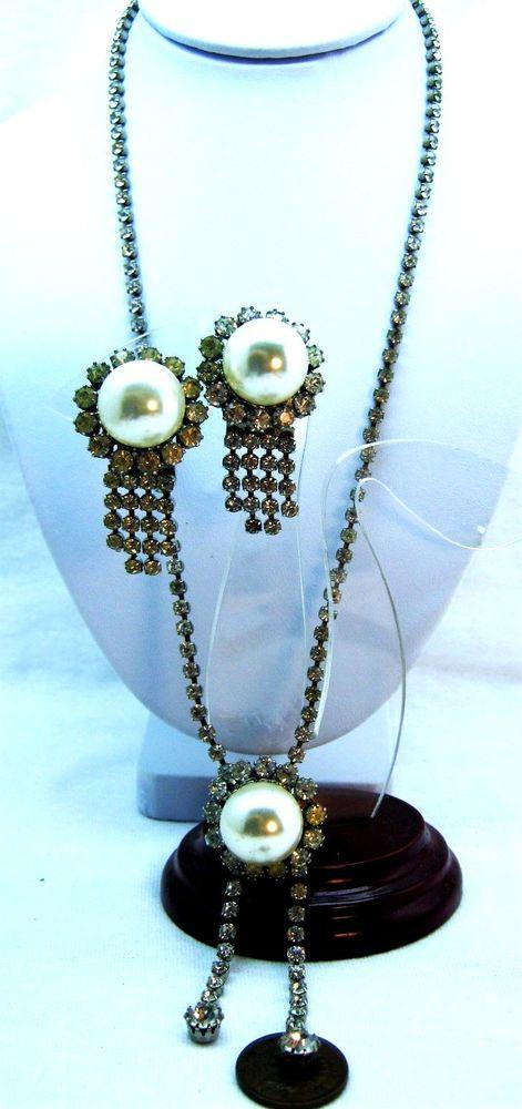 JUDY LEE RHINESTONE FAUX PEARL Signed Vintage Jewelry Sets #JudyLee