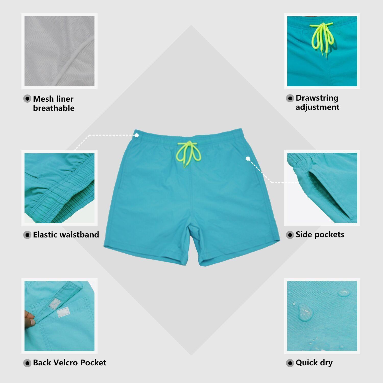 Turquoise Wave Best Mens Beach Shorts Linen Casual Fit Short Swim Trunks