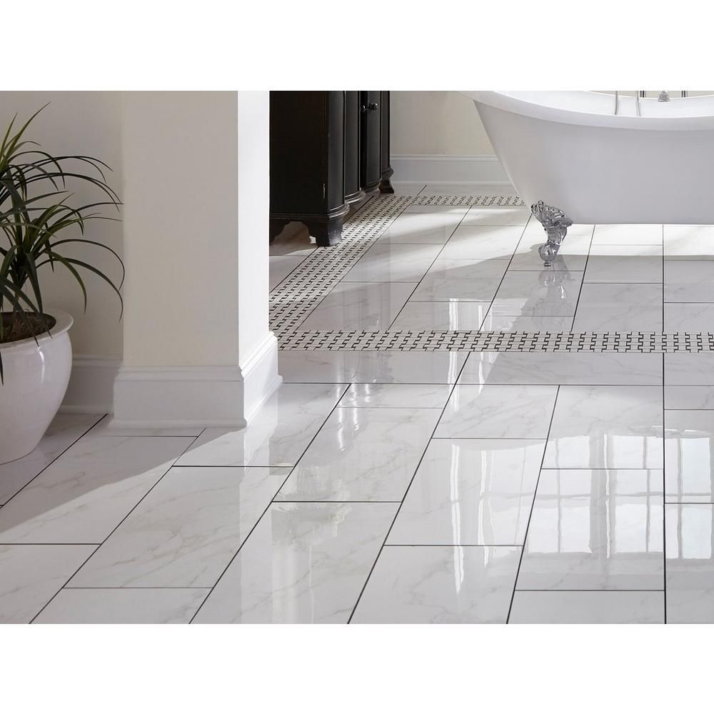 Carrara Polished Porcelain Tile In 2020 Polished Porcelain Tiles