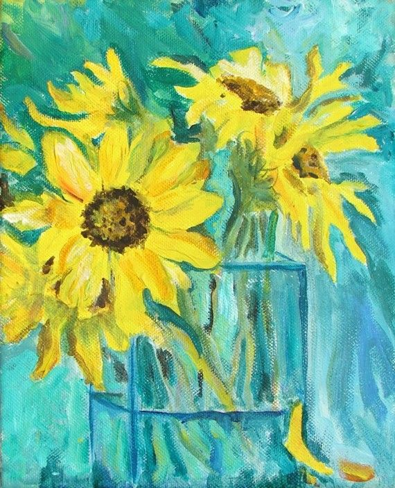 Sunflowers In Vase Acrylic Painting Original 8 By 10 Painting